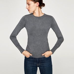 NWT Zara Knit Collection Grey Pearl Cuff Sweater